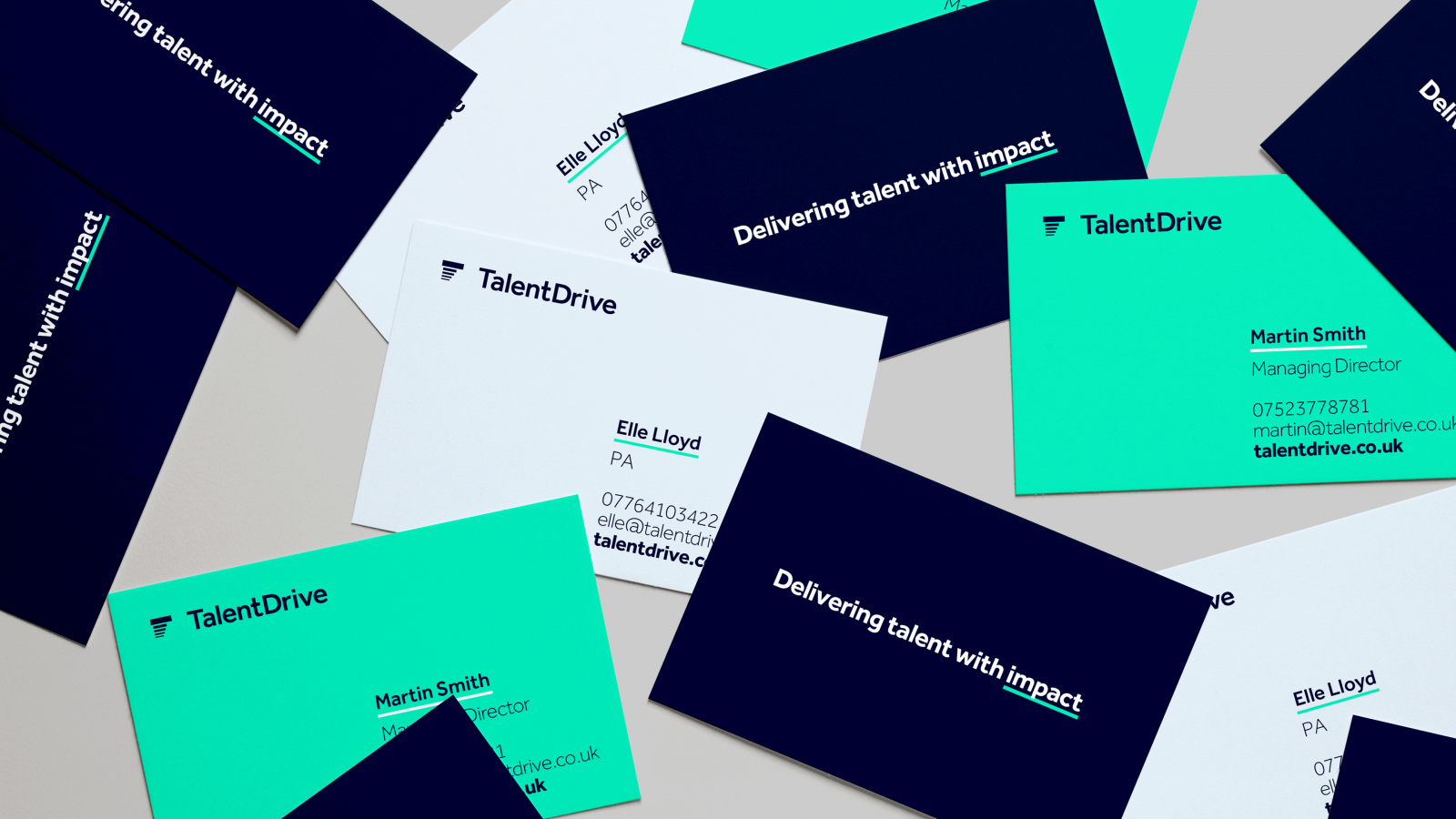 Talent Drive branding on business cards